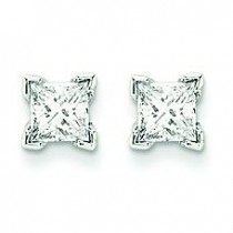 Quality Complete Princess Cut Diamond Earrings in 14k White Gold (0.5 Ct. tw.)