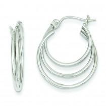 Triple Hoop Earrings in 14k White Gold