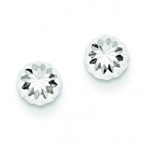 Diamond Cut Half Ball Post Earrings in 14k White Gold