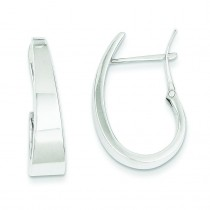 Tapered Fancy J-Hoop Earrings in 14k White Gold