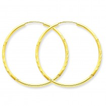 Satin Diamond Cut Endless Hoop Earrings in 14k Yellow Gold