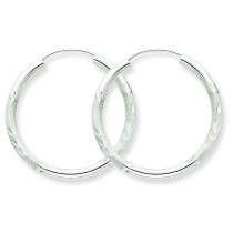 Diamond Cut Endless Hoop Earrings in 14k White Gold
