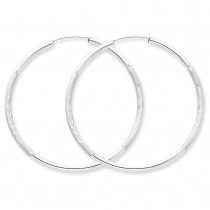 Diamond Cut Endless Hoop Earrings in 14k White Gold