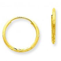 D C Endless Hoop Earrings in 14k Yellow Gold