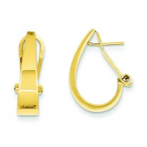 J-Hoop Omega Back Post Earrings in 14k Yellow Gold