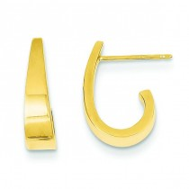 Small J Hoop Earrings in 14k Yellow Gold
