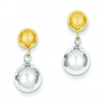 Ball Dangle Post Earrings in 14k Two-tone Gold
