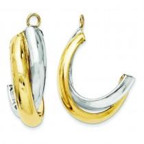 Double J-Hoop Earrings Jackets in 14k Two-tone Gold