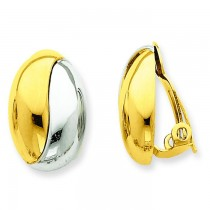 With Rhodium Non-Pierced Earrings in 14k Yellow Gold