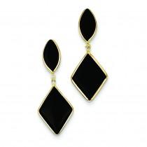 Onyx Dangle Earrings in 14k Yellow Gold
