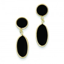 Onyx Oval Dangle Post Earrings in 14k Yellow Gold
