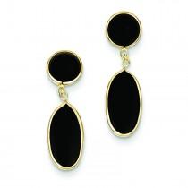 Onyx Oval Dangle Post Earrings in 14k Yellow Gold
