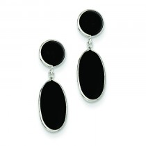 Onyx Oval Dangle Post Earrings in 14k White Gold
