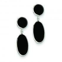 Onyx Oval Dangle Post Earrings in 14k White Gold
