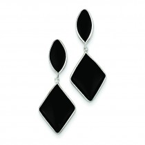 Onyx Dangle Post Earrings in 14k White Gold
