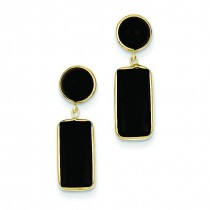 Onyx Rectangle Dangle Post Earrings in 14k Yellow Gold