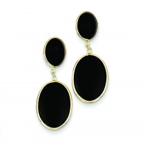 Onyx Oval Dangle Earrings in 14k Yellow Gold