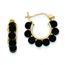 Onyx Beaded Hoop Earrings in 14k Yellow Gold