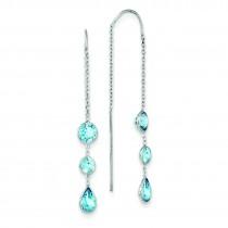 Blue Topaz Dangle U Wire Earrings in 14k White Gold