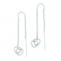 Double Heart Threader Earrings in 14k White Gold