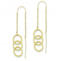 Triple Circle Threader Earrings in 14k Yellow Gold