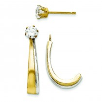 J Hoop W And CZ Earrings Jacket in 14k Yellow Gold