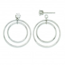 Double Hoop Earrings Jackets in 14k White Gold