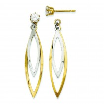 Teardrop Dangle W CZ Stud Earrings Jackets in 14k Two-tone Gold