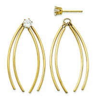 Curved Stick Jacket W CZ Stud Earrings in 14k Yellow Gold
