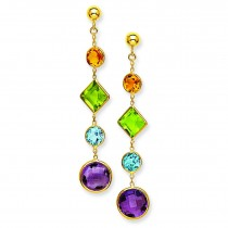 Muti Gemstone Post Earrings in 14k Yellow Gold