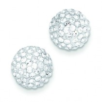 Disco Ball Crystal Stud Earrings in 14k Yellow Gold
