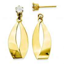 Oval Dangle With CZ Stud Earring Jackets in 14k Yellow Gold