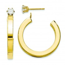 J Hoop With CZ Stud Earring Jackets in 14k Yellow Gold