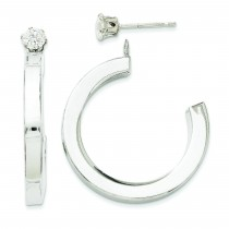 J Hoop With CZ Stud Earring Jackets in 14k White Gold