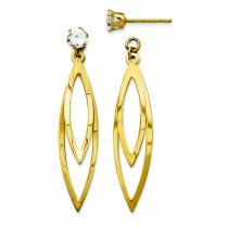 Oval With CZ Stud Earrings Jackets in 14k Yellow Gold