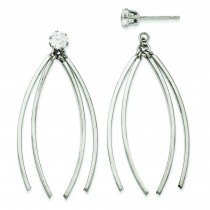 Curved Dangles With CZ Stud Earring Jackets in 14k White Gold