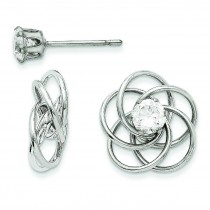 Fancy Knot With CZ Stud Earring Jackets in 14k White Gold