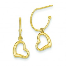 Heart Dangle Post Earrings in 14k Yellow Gold