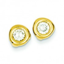 CZ Fancy Post Ear in 14k Yellow Gold