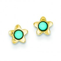 Turquoise Star Post Ear in 14k Yellow Gold
