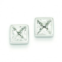 Square CZ Post Ear in 14k White Gold