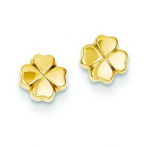 Leaf Clover Post Ear in 14k Yellow Gold