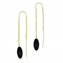 Onyx With U Threader Earrings in 14k Yellow Gold