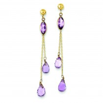 Amethyst Post Dangle Earrings in 14k Yellow Gold