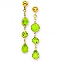 Peridot Gemstone Dangle Earrings in 14k Yellow Gold