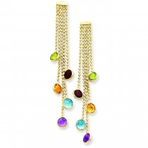 Multicolored Gemstone Dangle Earrings in 14k Yellow Gold