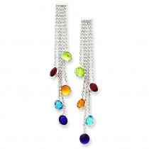 Multicolored Gemstone Dangle Earrings in 14k White Gold
