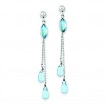 Blue Topaz Dangle Earrings in 14k White Gold