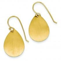 Satin Teardrop Disc Earrings in 14k Yellow Gold