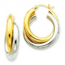 Double Tube Hoop Earrings in 14k Two-tone Gold